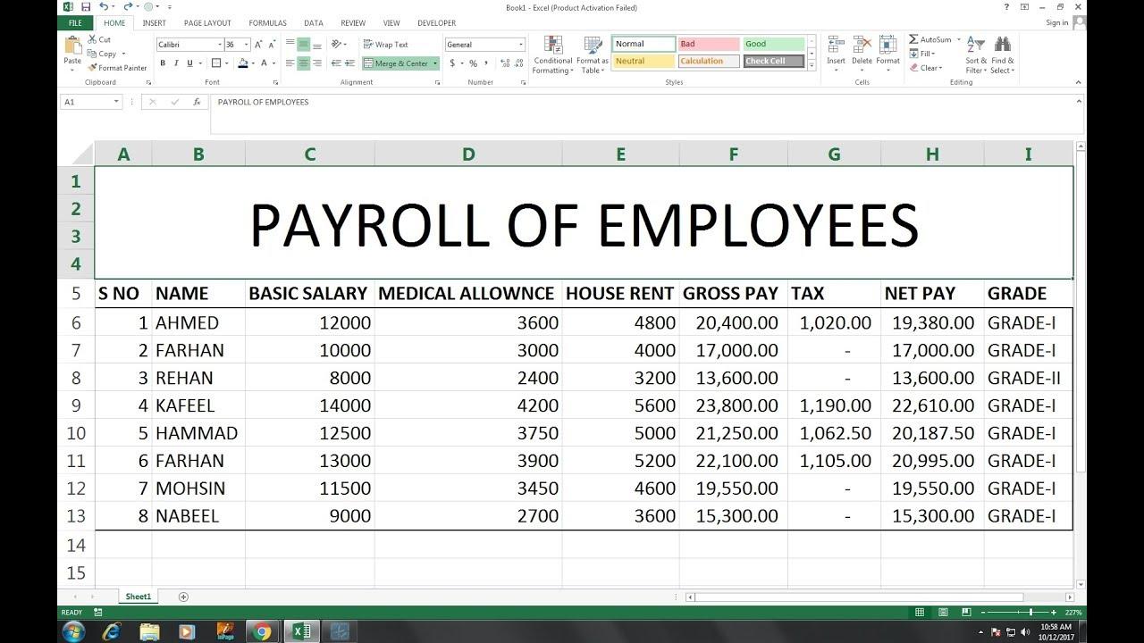 payroll sheet