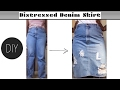 DIY $4 Jeans To distressed Skirt