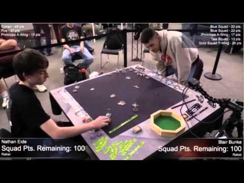 X Wing Worlds 2015 Round 8 - Nath Eide (Corran, Poe) vs Blair Bunke (Rebel Swarm)