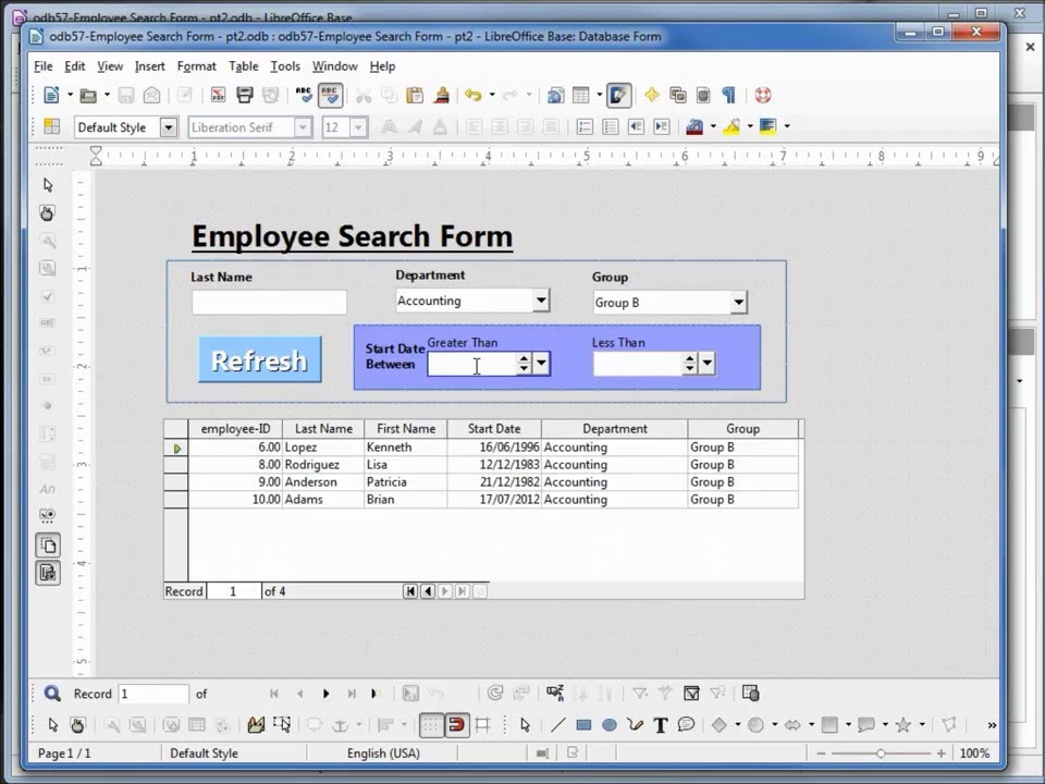 LibreOffice: Base 19 - Subform Filter