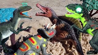 Dinosaurs Battle Dino Attack Video For Kids! Dinosaur Toys T-rex Triceratops Velociraptor