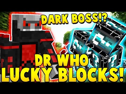 DOCTOR WHO LUCKY BLOCK VS DARK BOMB BOSS | Minecraft - Mod Showcase