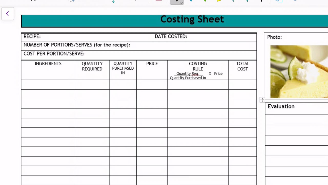 Completing A Recipe Costing Sheet Youtube
