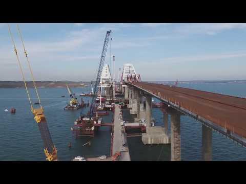 Крымский мост | Видео стройки с коптера 10 января 2018 года