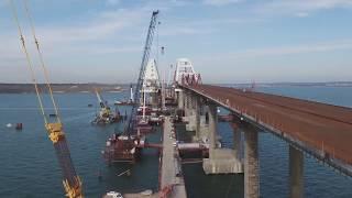 Крымский мост   Видео стройки с коптера 10 января 2018 года