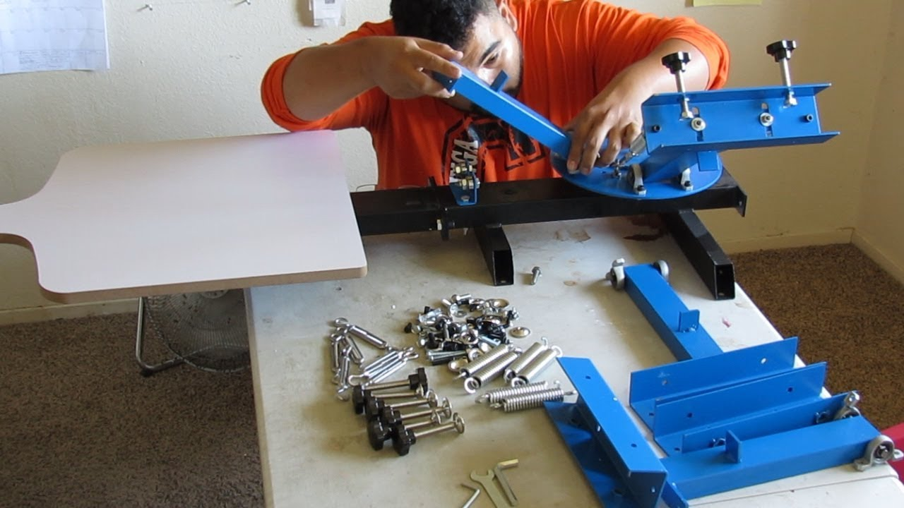 6e0d2b29d how to assemble ($170) 4 color screen printing press - YouTube