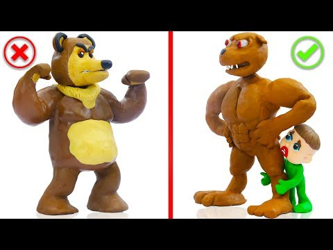 SUPERHERO BABY DOG WILD BEAR ANIMALS 馃挅 Play Doh Cartoons For Kids