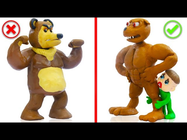 SUPERHERO BABY DOG WILD BEAR ANIMALS 💖 Play Doh Cartoons For Kids
