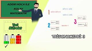 Trigonometrik Bağıntılar 3.Ders Sinüs, Kosinüs, Tanjant, Kotanjant Kolay Matematik