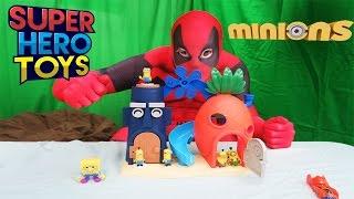 spongebob helps deadpool open giant dispicable me minion surprise egg blind bags super hero toys