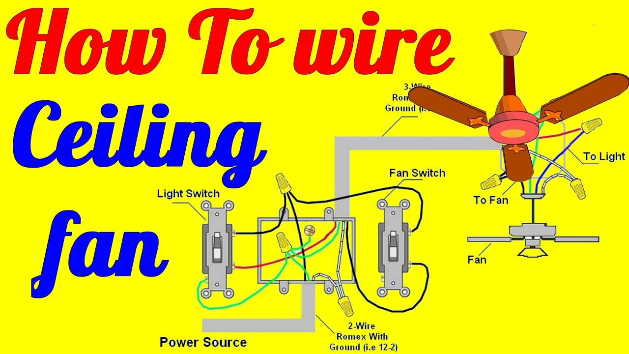 maxresdefault how to wire ceiling fan with light switch youtube wiring a ceiling fan with two switches diagram at nearapp.co
