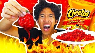 DIY SPICIEST HOT CHEETOS IN THE WORLD CHALLENGE!!! (EXTREMELY DANGEROUS)