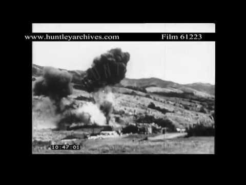 Phantom bomber strikes near the Khe Sanh base in 1968.  Archive film 61223