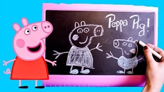 Peppa Pig Table Top Easel Chalkboard DIY Coloring Drawing Peppa Pig Toys