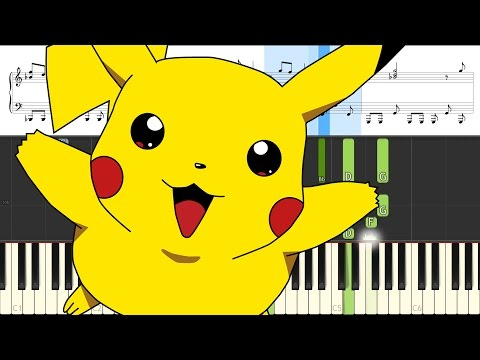 Pokemon Theme played on Grand Piano (Gotta Catch'em All) [Animated Roll and Sheet Music]
