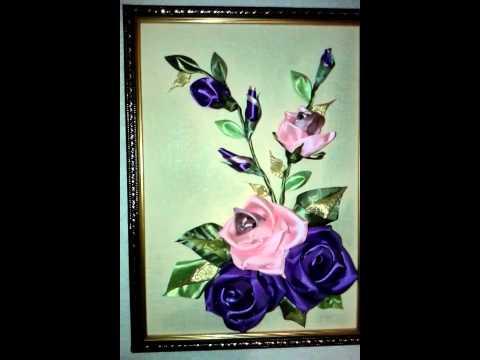 Видео Розы из атласных лент.