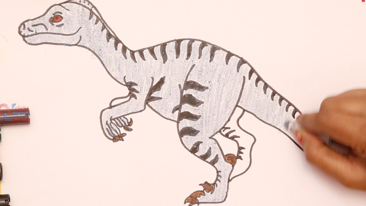 dinosaur drawing for kids draw and color with markers how to draw