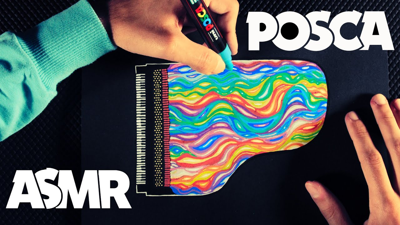 ASMR 🖊️Posca Markers Review 🌈Drawing a Colorful Piano 🎹