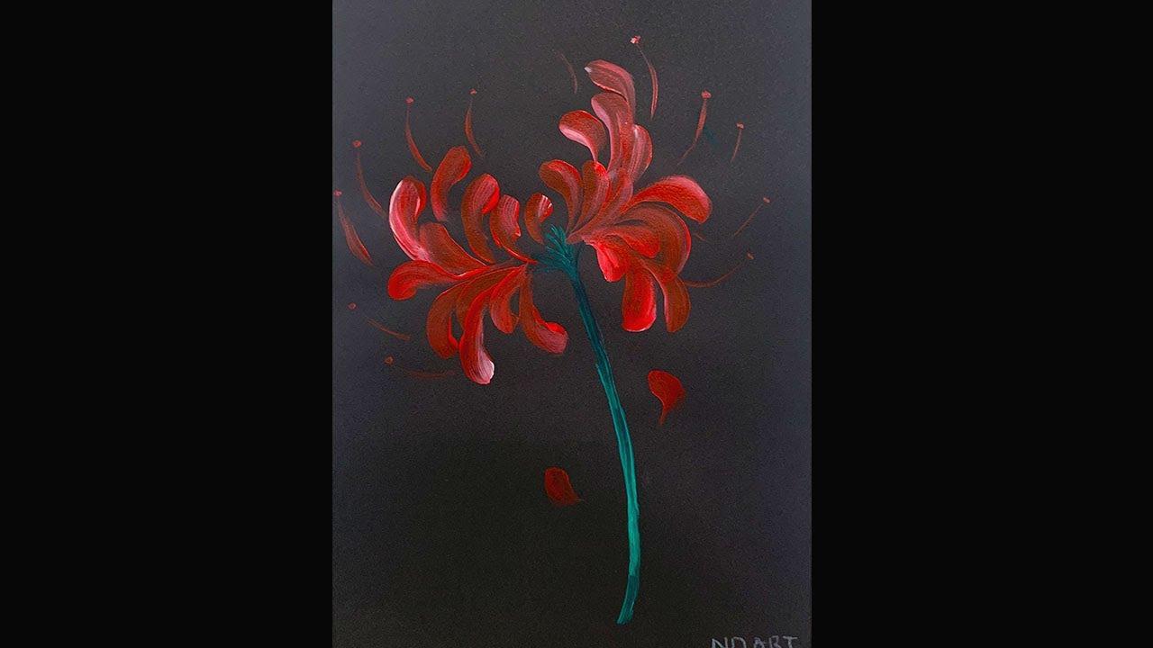Cách vẽ hoa bỉ ngạn đơn giản |  How to draw Red Spider Lily for beginner ?
