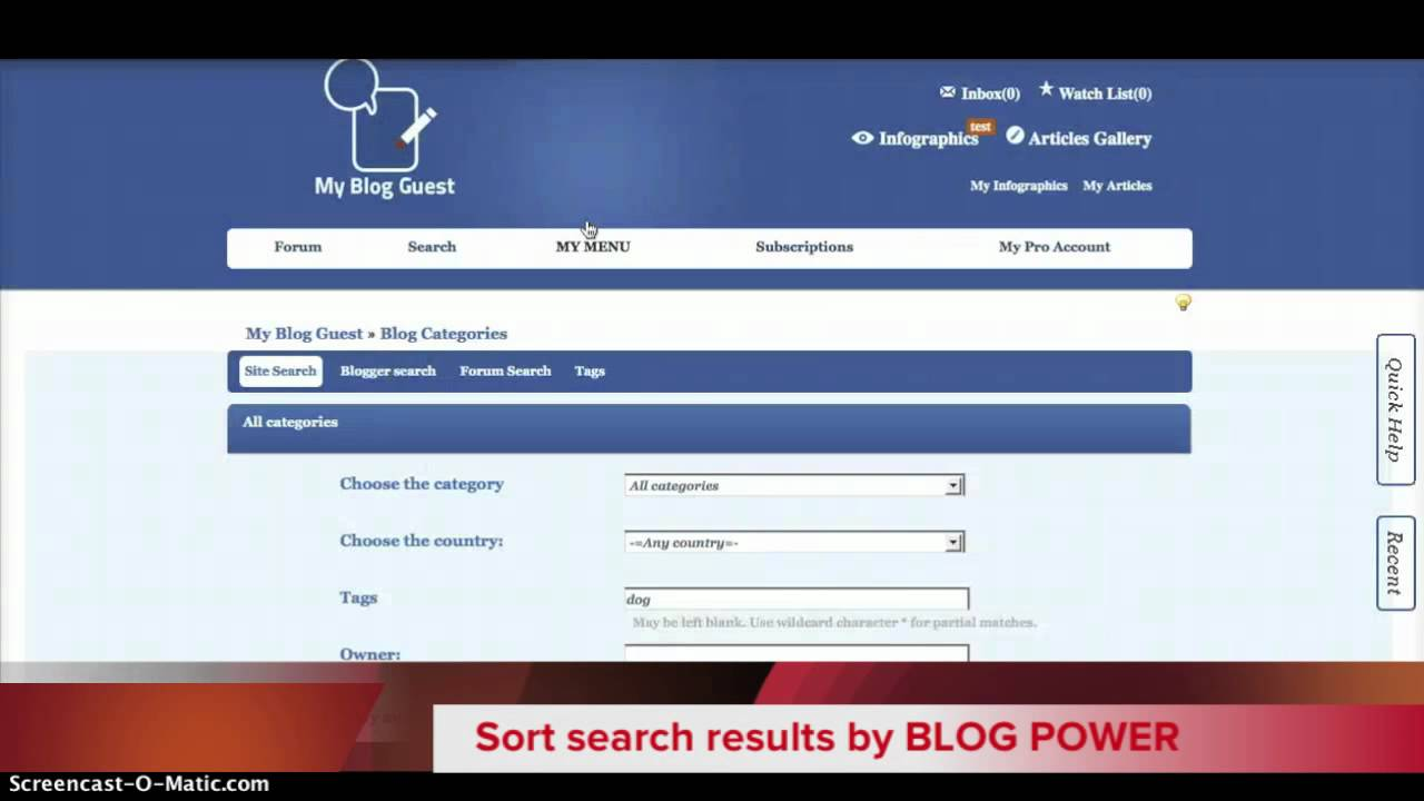 HOW TO: Use MyBlogGuest Search Feature