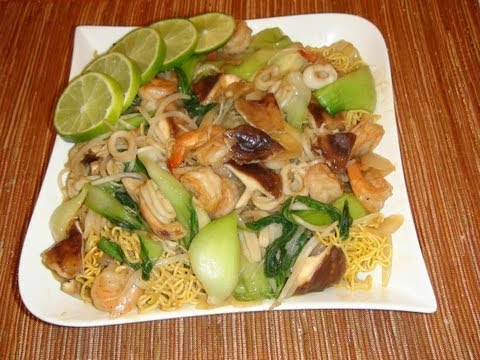 PINOY RECIPE – CRISPY CHOW MEIN WITH SEAFOOD RECIPE CHINESE STYLE