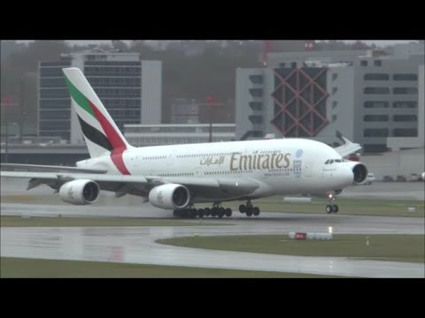 [HD] Emirates A380 bad weather landing at Zurich Airport - 29/03/2015 (Sturm Niklas)