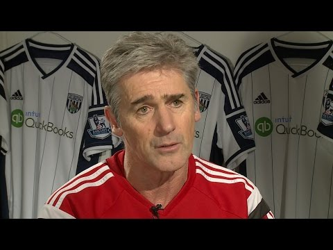 Alan Irvine is interviewed ahead of Albion's Premier League game against West Ham United