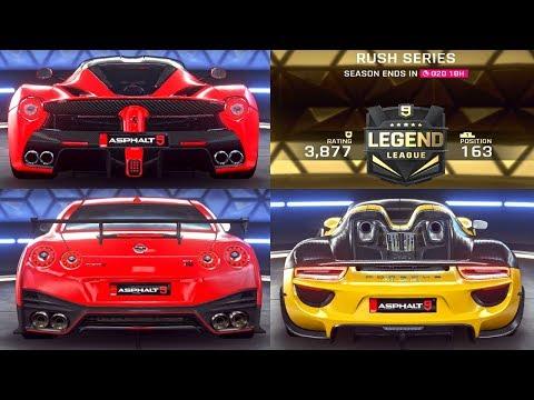Asphalt 9   Multiplayer Gameplay   Rush Series   GT-R Nismo / LaFerrari / Spyder