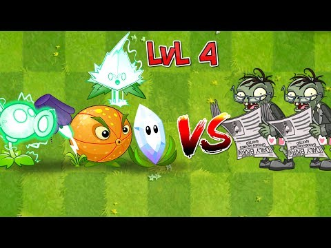 Plants vs Zombies 2 Electric Plants + Fila Mint Level 4 vs Newspaper Zombie - Compare Plants
