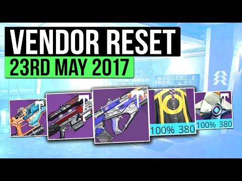 Destiny | WEEKLY VENDOR RESET! - Best Vendor Weapons & All 100% Stat Roll Armor! (23rd- 30th May)