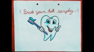 easy drawing for kids || Easy draw teeth and brush