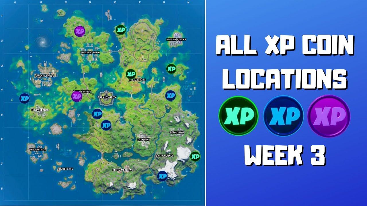 All 11 XP Coins Locations in Fortnite Week 3 (Green, Blue & Purple)! - Fortnite Chapter 2 Season 3