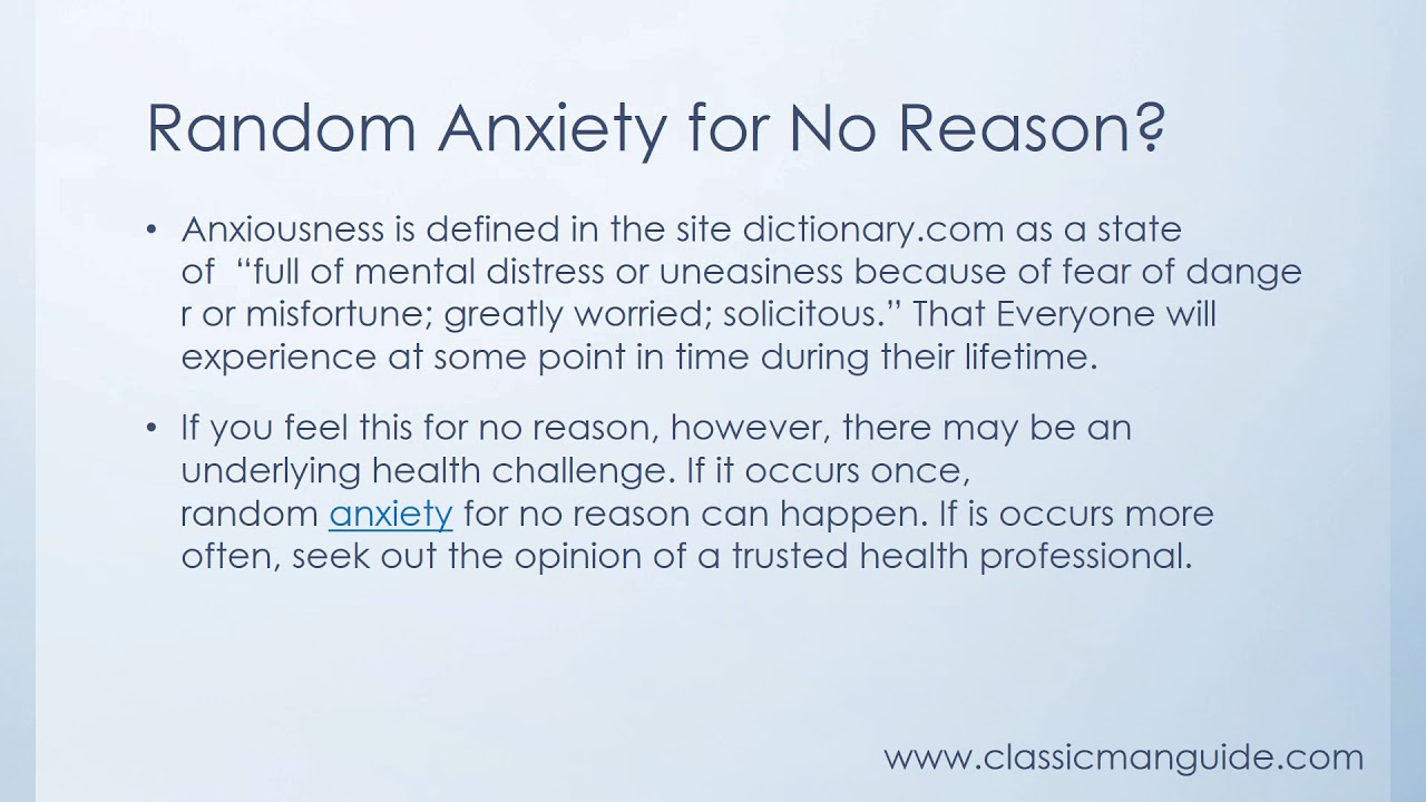 what to do when feeling anxious for no reason