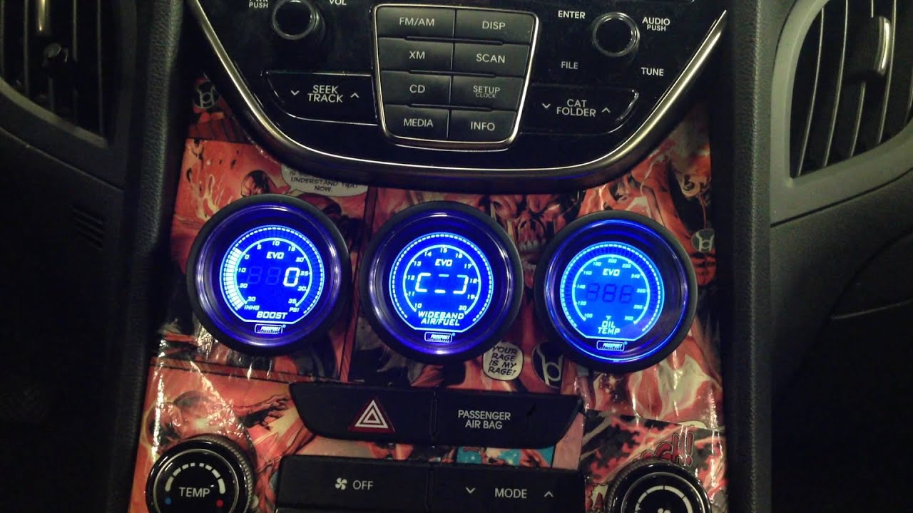 Aftermarket Gauge In Factory Pod On 2013 Genesis Coupe 3