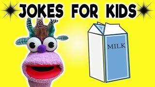 FUNNY MILK JOKE! - JOKES FOR KIDS! 100% Silly Jokes! Skeleton! Dairy! Cow! LOL! FUNNY! Sock Puppet!