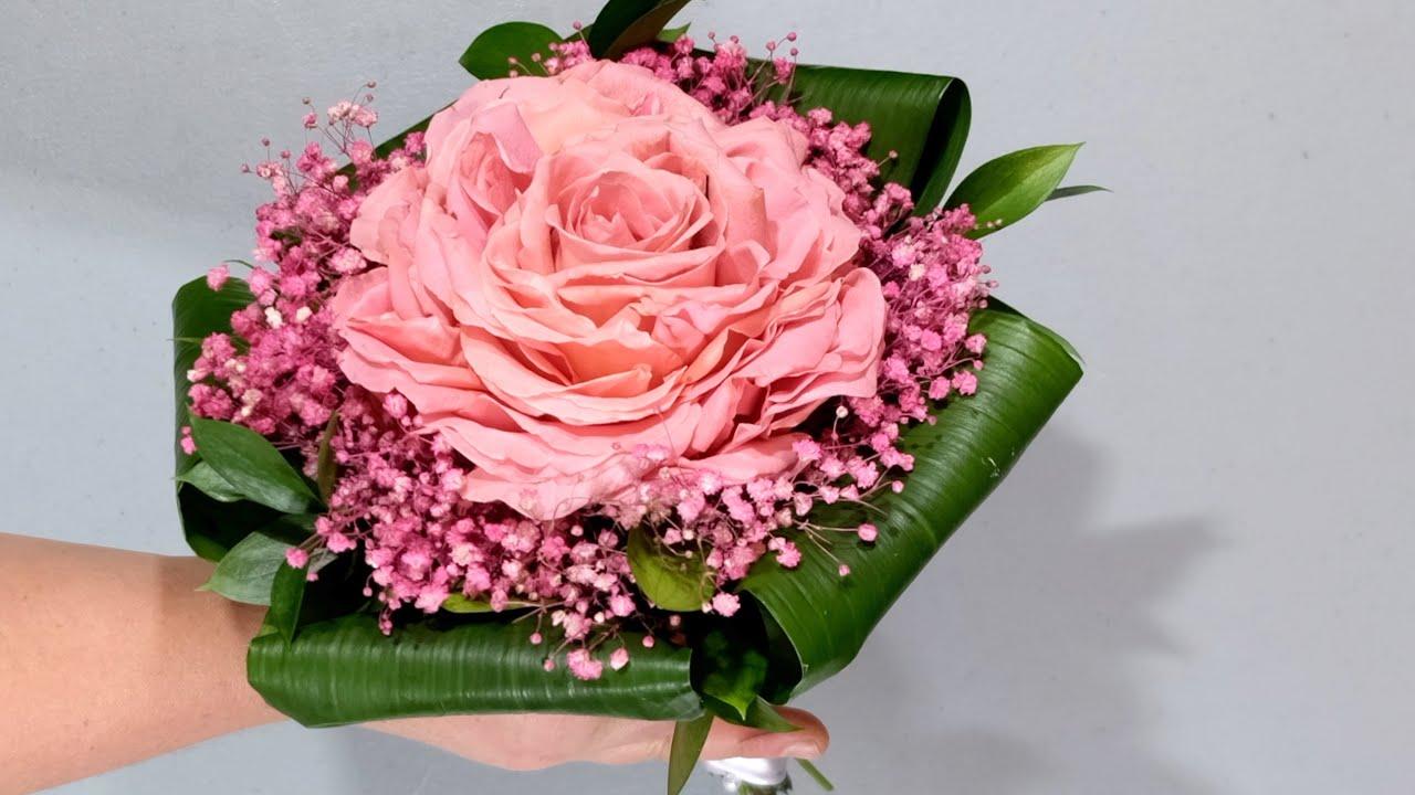 How To Make Single Large Rose Bridal Bouquet Youtube