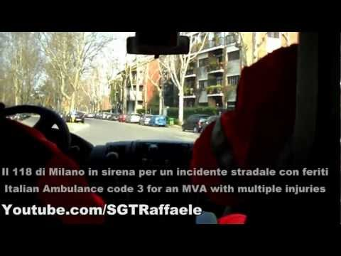 118 Milano On Board Camera in Sirena - Italian Ambulance Code 3 for MVA On Board Cam