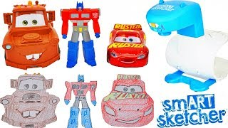 Draw Pictures of Cars and Transformers Lightning Mcqueen Mater Optimus Prime Art Projector Toys