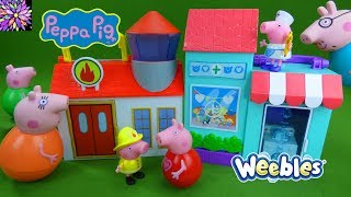 Peppa Pig Toys Playset Unboxing Little Firehouse Doll House Weebles Mummy Daddy Pig Kids Toy Video
