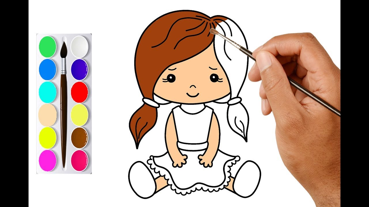 How to Draw a Girl Easy and Cute | Draw Cute Doll With ...