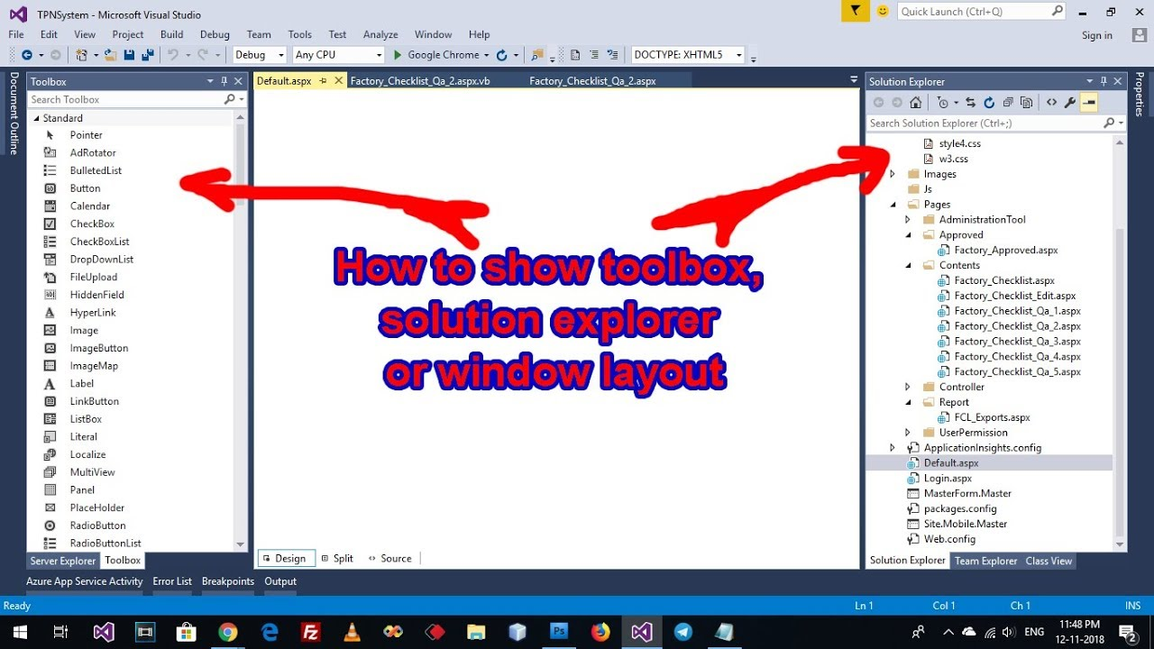How to show toolbox, solution explorer or window layout VB 2015, VB 2017