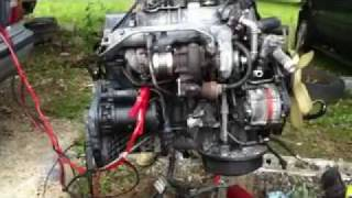 84 mercedes benz turbo diesel  engine  runing  at  air