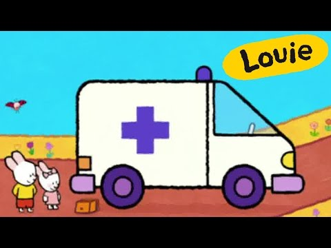 Ambulance - Louie draw me an ambulance | Learn to draw, cartoon for children