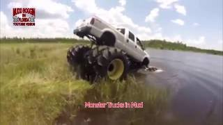 8 wheel Diesel Ford Monster Truck in water and on land.. can't stop it.
