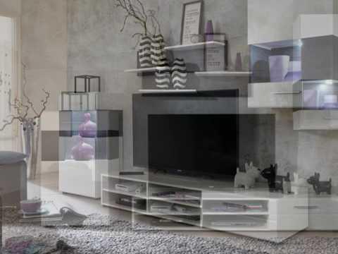 Wohnwand Medienwand weiß mit Hängevitrine und Lowboard