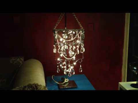 DIY Crystal Chandelier made from ordinary kitchen items