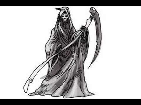 how to draw a grim reaper step by step youtube
