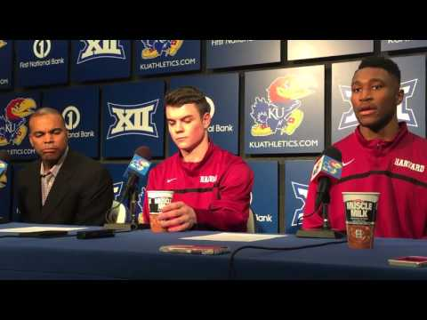 Harvard Coach Tommy Amaker & Crimson players after losing to Kansas