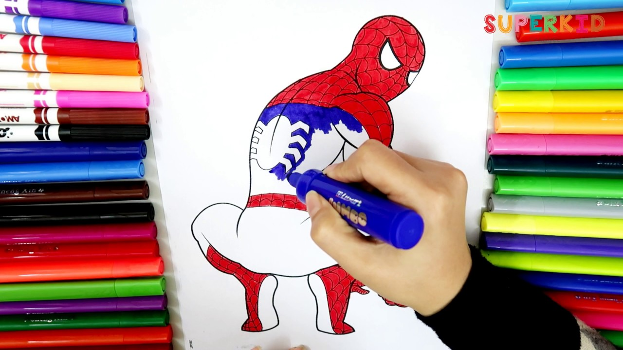 Easy Spiderman coloring pages for toddlers Learning