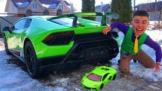 Mr. Joe found Toy Car & He Grew Up in Sport Car Lamborghini Huracan Performance in Race for Kids